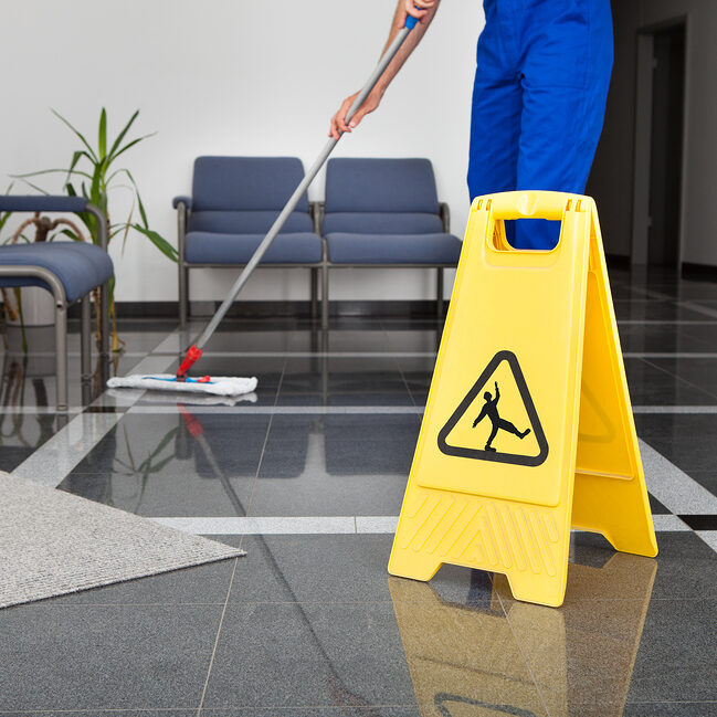 professional cleaner during work